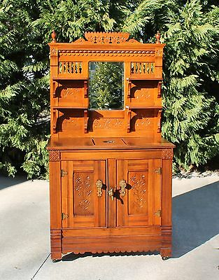 HTF Victorian Eastlake Walnut Sideboard Parlor Icebox with Spigot & Hardware