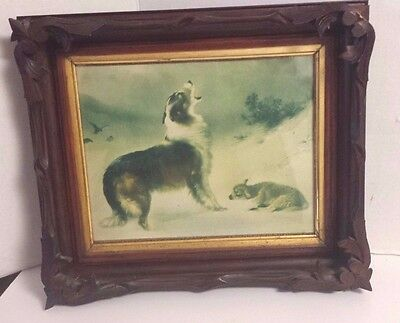 Antique Walnut Frame Thick Old Frame Collie And Lamb Print