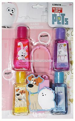 TOWNLEY* 5pc Set Hand Sanitizer THE SECRET LIFE OF PETS Reuseable Holder NEW 1/2