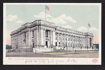 c1905 U.S.Court House & Post Office building Indianapolis Indiana postcard