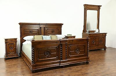 Classical Italian Antique Carved Walnut King Size 4 Pc Bedroom Set, Marble Tops