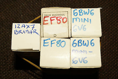 Codar AT5 Transmitter set of five spare valves 12ax7, 6bw6 (two) & ef80 (two)