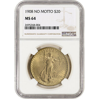 US Gold $20 Saint-Gaudens Double Eagle - NGC MS64 - 1908 No Motto