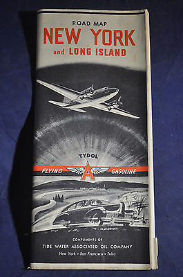 1941 *Flying Tydol Gasoline* Road Map of New York and Long Island