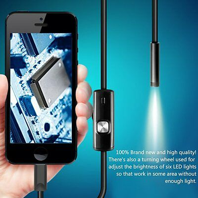 6 LED Waterproof 1M 7mm Phone Endoscope Inspection Camera For Android PC HT