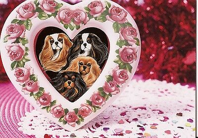 Rose Heart Frame and Cavalier King Charles Spaniels blank notecard
