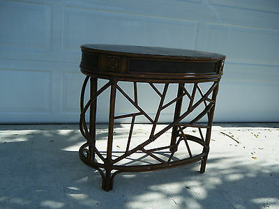 Vintage Chinese Chippendale Fuax Bamboo Single Drawer Desk