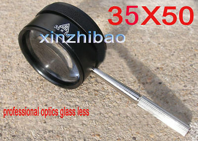 35x50mm Jewelry Watches Repairing Magnifying Handle Loupe Optics Glass Magnifier