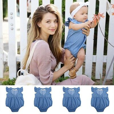 Newborn Kids Toddler Baby Girls Denim Romper Jumpsuit Bodysuit Outfits Clothes