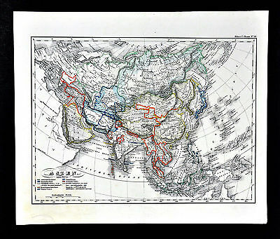 c.1848 Glaser Atlas Map - Asia China Japan Korea India Nepal Afghanistan Siberia