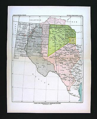 1899 Bureau of Ethnology Native American Indian Lands Texas New Mexico Oklahoma