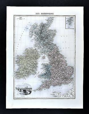 1880 Migeon Map - British Isles - England Wales Scotland London Great Britain UK