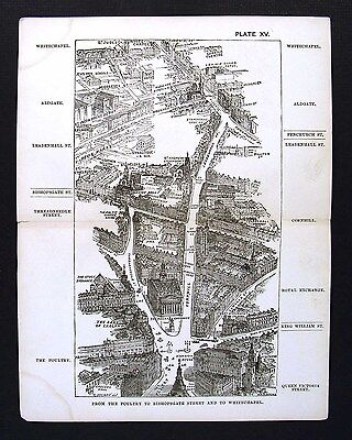 1886 London Bird's Eye View Map Poultry Bishopsgate Whitechapel - Royal Exchange