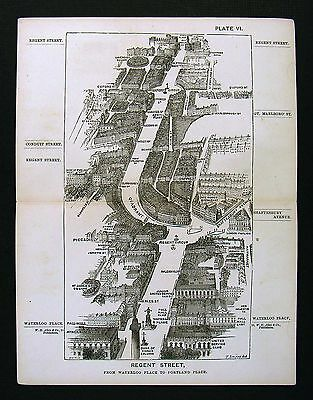 1886 Victoria London Bird's Eye View Map Regent Street Waterloo Place Oxford Cir