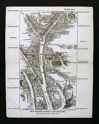 1886 London Bird's Eye View Map New Oxford Holborn Street St Giles Paul's Church