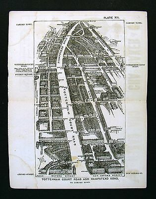 1886 Victoria London Bird's Eye View Map - Tottehnam Court & Hampstead Road