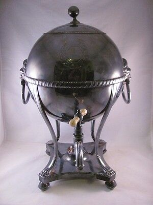 Antique Sheffield Silver Plate Plated Hot Water Urn Samovar Lion Head 17 in