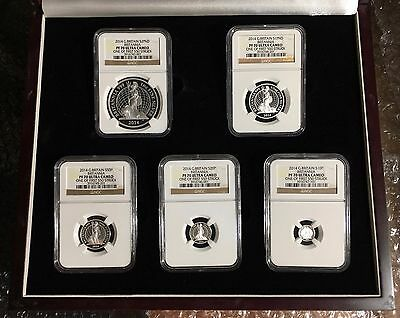 * 2014 UK Britannia 5-Coin Silver Proof Set NGC PF70 Ultra Cameo, #212 of #550 *