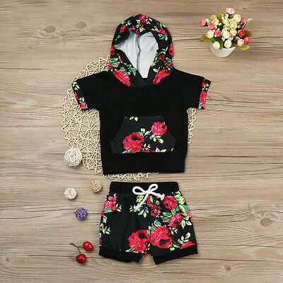 Newborn Baby Boy Girl Floral Hoodie Top T-shirt+Shorts Pants Outfits Set Clothes