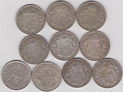 Date Run 1920 To 1929 Halfcrowns In Good Fine To Very Fine Condition