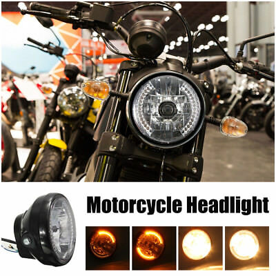 "7"" inch 12V Motorcycle Round Headlight Halogen H4 Bulb 35W Head Lamp for HARLEY"