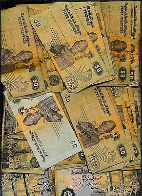EGYPT LOWER GRADE LOT OF NOTES - 100 NOTES -  50 piastres - A BUY #HH