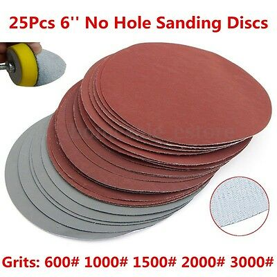 25Pcs 6'' Abrasive Sanding Discs Hook Loop Fit 600# 1000# 1500# 2000# 3000# Grit