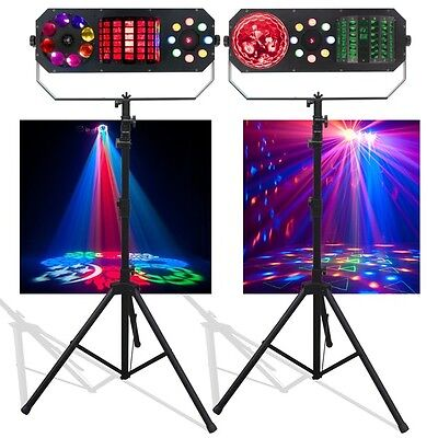 American DJ Boom Box FX1 & FX2 LED DJ Disco Lighting Effects & Stands Package