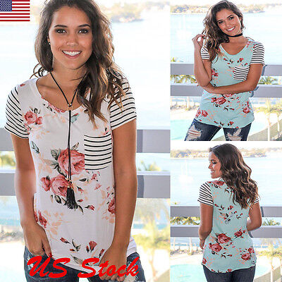 Women's Summer Short Sleeve Loose Blouse Casual Floral & Striped Tops T-Shirt US