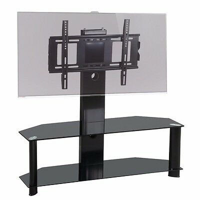 """Glass TV Stand with Bracket for 37""""-60"""" Plasma LCD TV Black"""