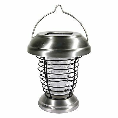 Lampe solaire + Tue-insectes - A poser ou à suspendre - INOX - NEUF