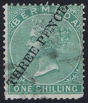 Bermuda 1874 SG14 3d on 1/- Green Provisional with RPS Certificate Cat. £650.00