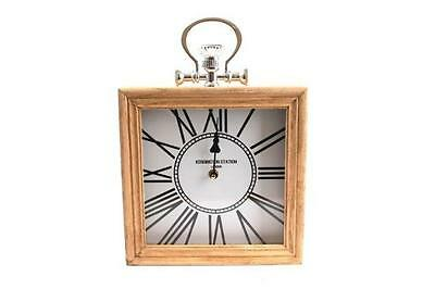 Kensington Station Inspired Wooden Square Wall Mantel Clock Pocket Watch Style