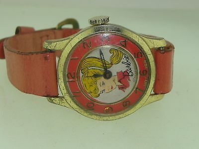 Vintage 1963 Matel Barbie Wind Wrist Watch With Pink Band! Works..