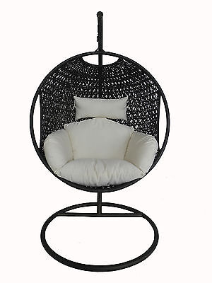 Charles Bentley Patio Outdoor Black Rattan Hanging Swing Chair w/ Cream Cushion