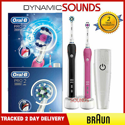 2 Braun Oral-B PRO2500 Black + Pink Electric Rechareable Toothbrush +Travel Case