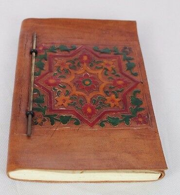 Leather Bound Indian Diary/journal/spells Notebook, Handmade Flower Paper Wicca