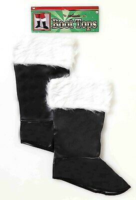 Santa Costume Boot Tops With Faux Fur Trim Adult One Size Fits Most