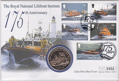 1999 Isle Of Man Rnli Anniversary £5 Coin & Stamp Cover