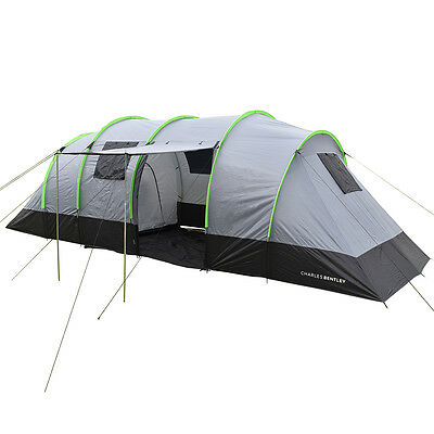 Charles Bentley 8 Man Family Camping Tunnel Tent Awning H220 x L690 x W240cm