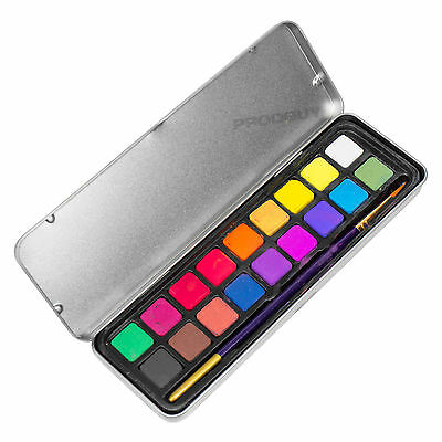 Icon Artists 18 Watercolour Paint Brush & Tin Set Art Sketching Painting Pack