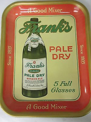 Original Vintage 1940's  FRANKS PALE DRY Soda Pop Serving Tray Sign     520-S