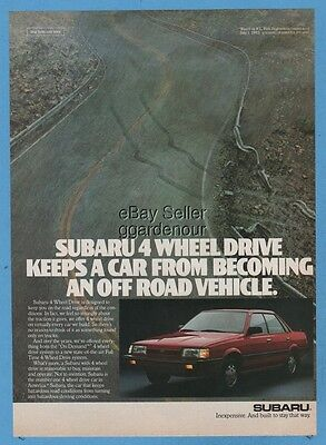 1987 Subaru 4X4 four wheel drive sedan vintage print car photo ad