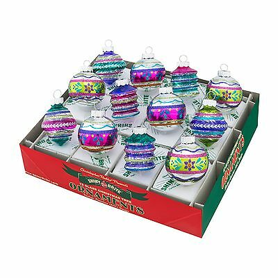 Radko Shiny Brite Christmas Brites 12 Count Rounds & Shapes w/ Tinsel Ornaments