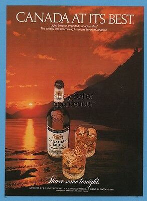 1981 Canadian Mist Whisky Canada At Its Best Sunset Lake Vintage Photo Print Ad