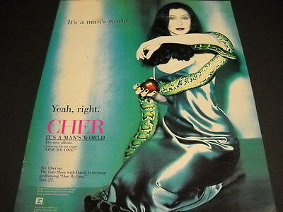 CHER It's A Man's World - Yeah Right 1996 PROMO DISPLAY AD