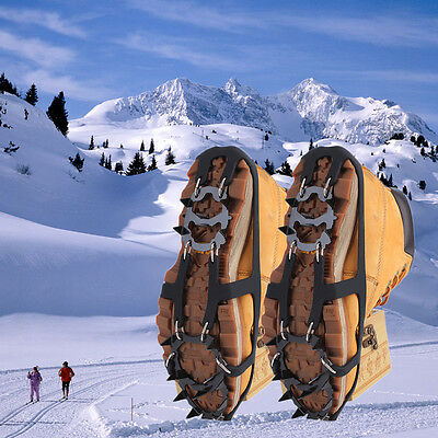 Ice Snow Climbing Anti-slip Shoe Covers Spike Cleats Crampons 18 Teeth M/L EH