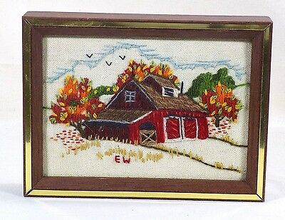 Completed Crewel Embroidery Picture Red Barn