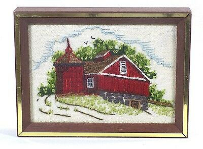 Framed Completed Crewel Embroidery Barn Silo