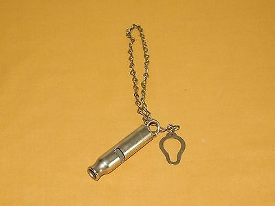"VINTAGE 3"" LONG METROPOLITAN T & L CO. NY POLICE WHISTLE with CHAIN"